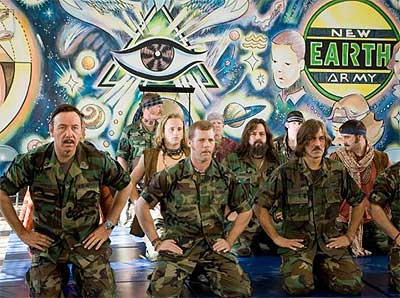 Jeff Bridges starts the New Earth Army, a hippie commune for psychics on a Fort Bragg Army base.  Yup, you read right.